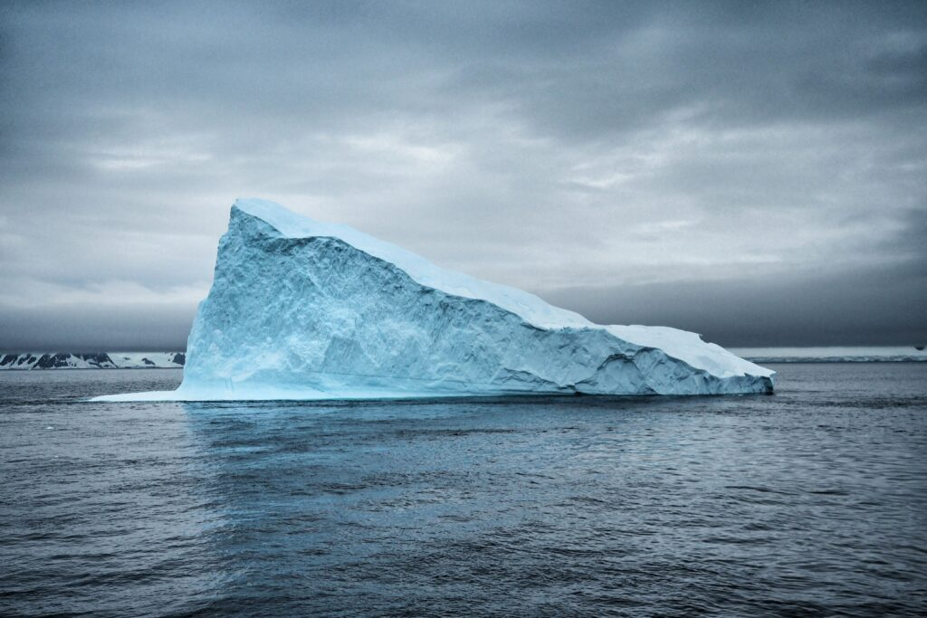 body of water and ice berg